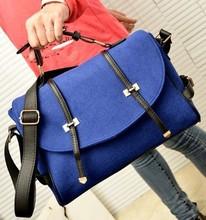 Women Messenger Bags Popular Handbag Fashion Elegant Portable Zipper One Shoulder Bag 2015 Hot Sale  Blue Black Red Tote(China (Mainland))