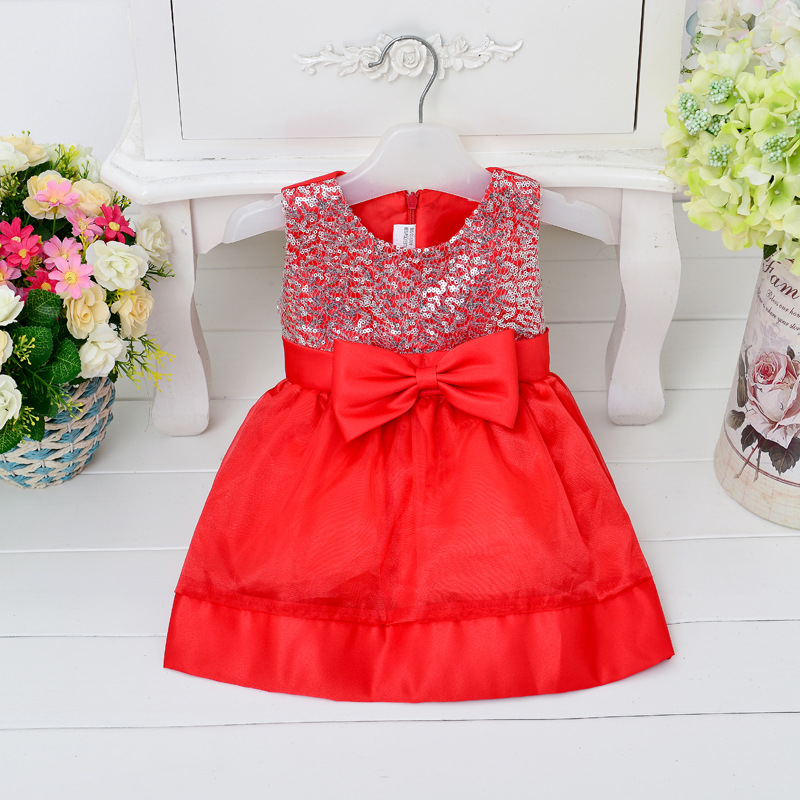 2015 Wholesale girls dress sleeveless party dress flower girls dress performance colthes red , pink and white dress <br><br>Aliexpress