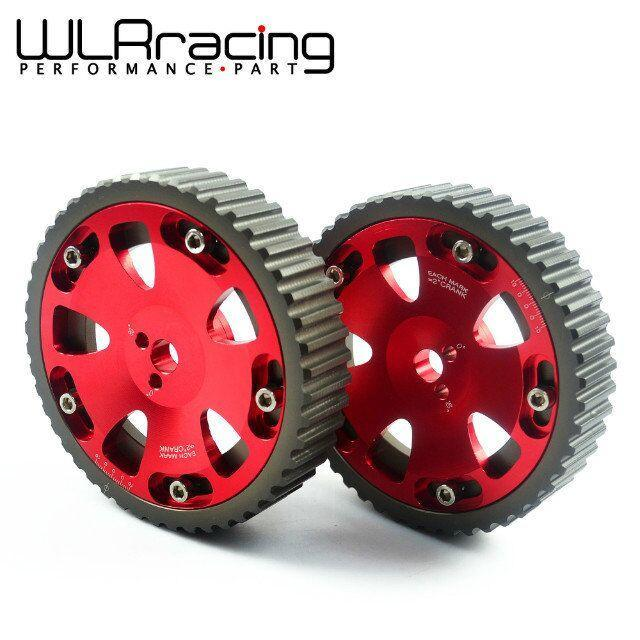 WLR STORE-2pcs Cam Gears Pulley For MITSUBISHI EVO 1 2 3 4 5 6 7 8 9 ECLIPSE DSM 4G63 RED PQY6538R