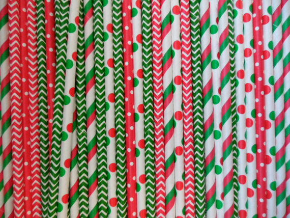 Red & Green Paper Straws, Christmas Straws, Stripe, Red, Green, Shiny, 25 Straws, Party, Party Supplies(China (Mainland))