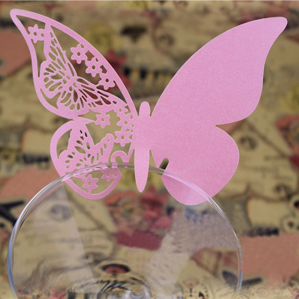 Hot Lot of 50 Pcs Butterfly Place Escort Wedding Party Wine Glass Paper Card Pink New Arrival Free Shipping(China (Mainland))