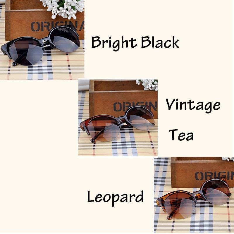 1 Pcs Fashion Retro Style Cat Eye Semi-Rim Round Sunglasses For