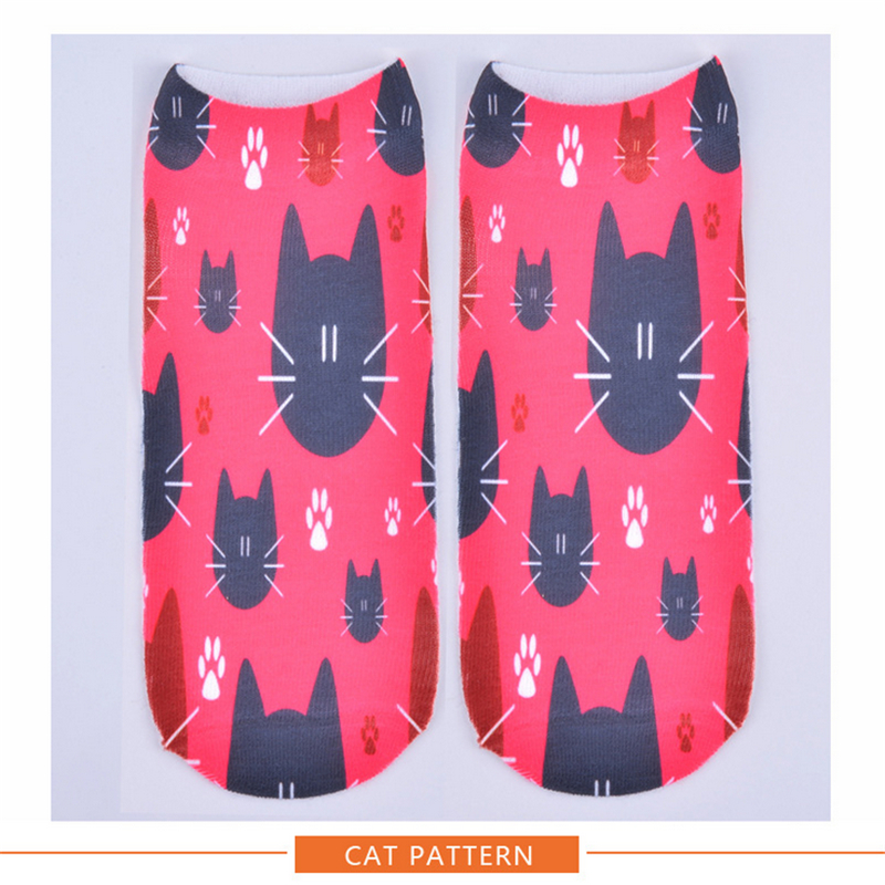 women socks women ankle sock 3D socken Cartoon Cats skeletons leopard pattern short feminino meias lot