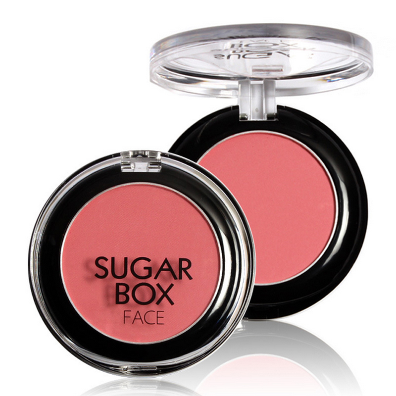 Sugar box blush palette bronzer mineralize Blush Powder Makeup Blusher Palette + Mirror Brush blush com espelho rubor(China (Mainland))