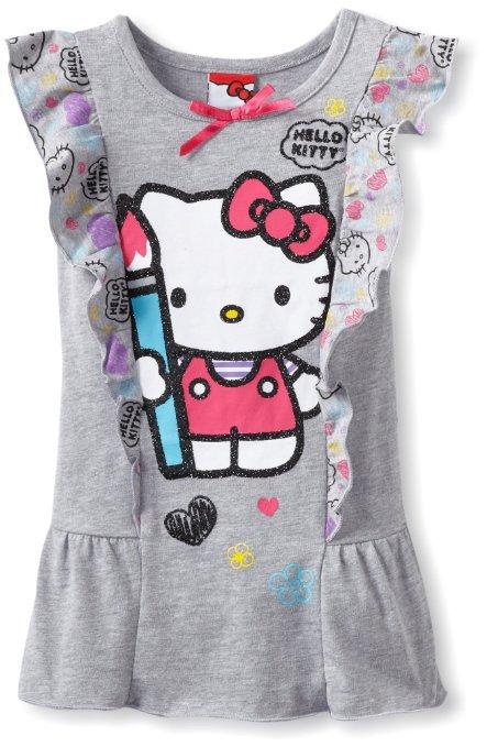 Cartoon Hello Kitty Dress 2015 Summer Girl Dress 100% Cotton Kids Dress Girls Clothes 1~5Y(China (Mainland))