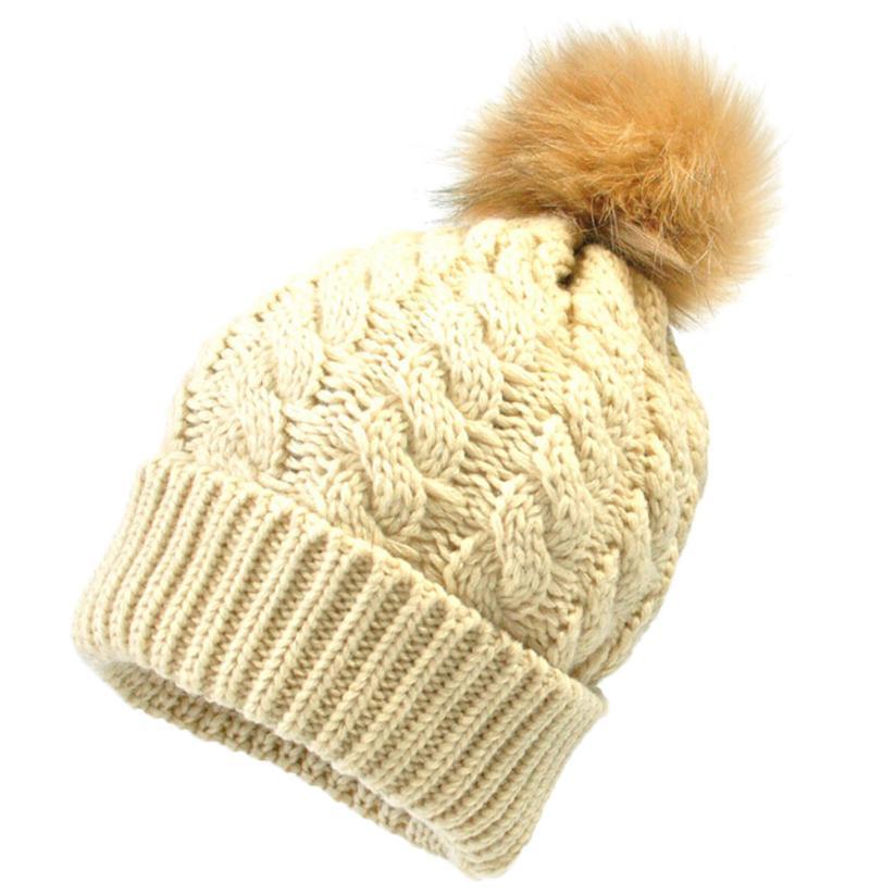 Baby winter cap Newborn Cute Winter Kids Baby Hats Knitted Wool Hemming Hat Baby ball hooded cap #20(China (Mainland))
