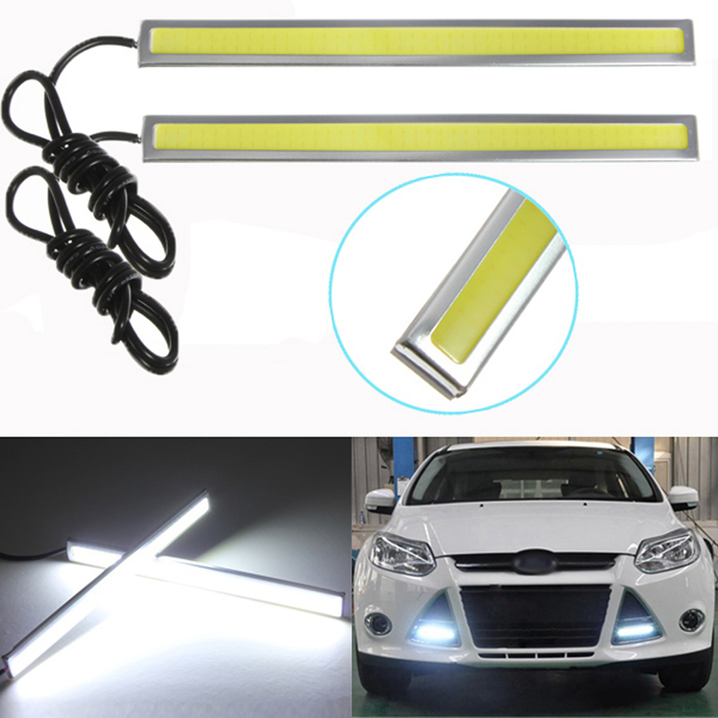2pcs Waterproof COB DRL LED Car Parking LED DRL Daytime Running Light Auto Lamp For Universal Car Light Source US Delivery(China (Mainland))