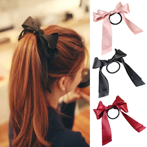 1X Women Satin Ribbon Bow Hair Band Rope Scrunchie Ponytail Holder 9 Color Hot(China (Mainland))