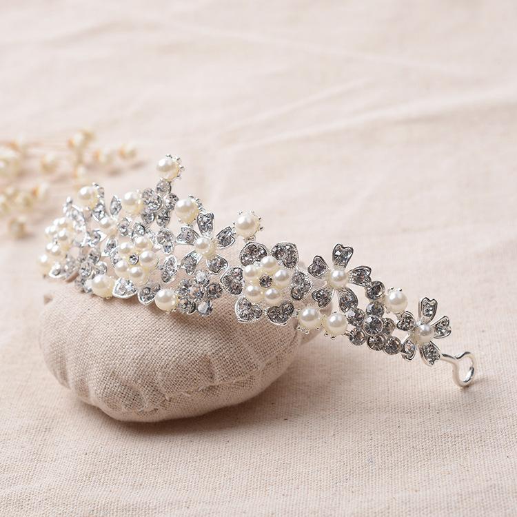 Wedding Hair Accessories Rhinestone Simulated Pearl Jewelry Silver Plated Bridal Tiara Crown Gorgeous Bride Princess Headwear