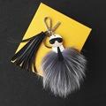Free Shipping Karlito Fur Monster Keychain Real Fox Fur Keychain Fur Bag Charm Keychain with Tassel