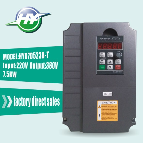 HUANYANG inverters AC drive VFD Inverters 7.5KW 220V Input 380V Output Voltage Frequency Converter & Parts(extension cable+box)(China (Mainland))