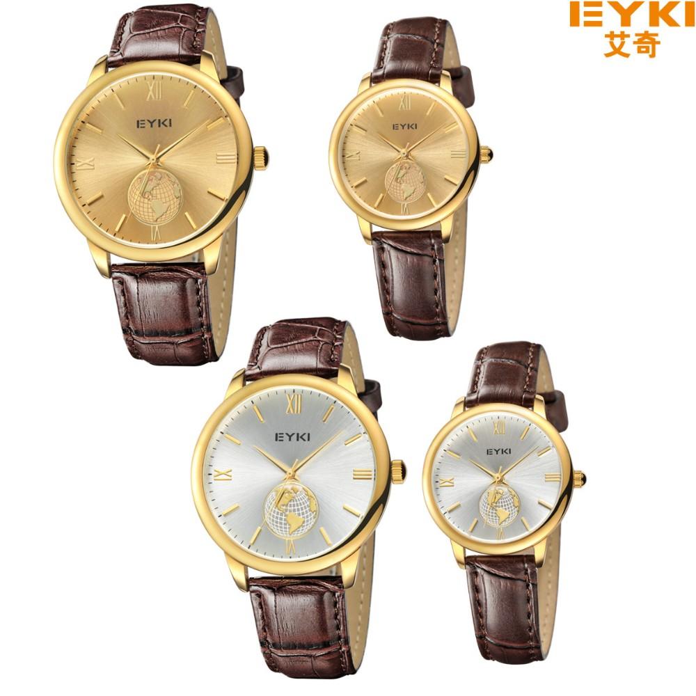 2016 EYKI марка бизнес часы любителей новинка кожа кварцевые мужские золотые часы свободного покроя женщины доказательство воды наручные часы 8846