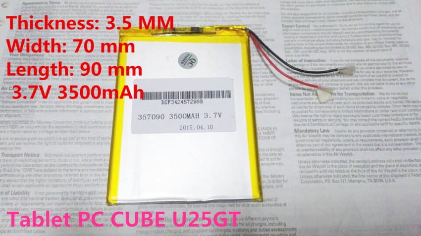 brand new battery 357090 3 7V 3500mAh Lithium polymer Battery with Protection Board For Tablet