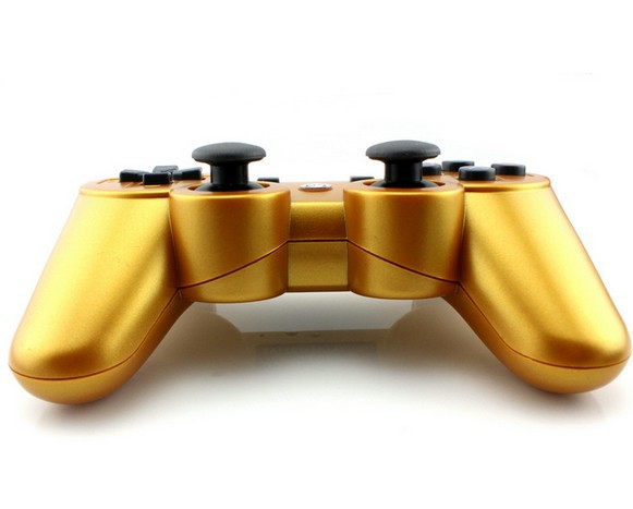 free shipping Gold color Wireless Bluetooth Game Controller For PS3 PS III SIXAXIS Controls Joysticks Gamepads Controllers()