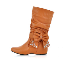 EUR Size 41 42 43 44 45 46 47 RETRO style BOWTIE design PU Leather Mid-Calf Boots Height Increasing - LUKU CO., LIMITED store