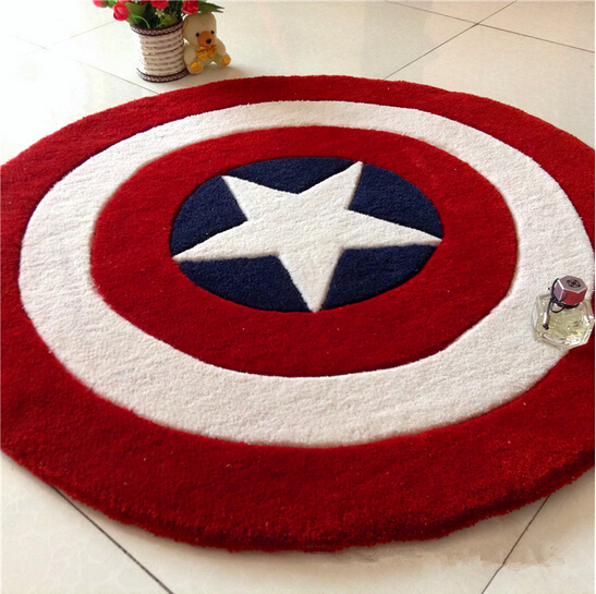 Europe and America Popular fashion Red Star carpets Cartoon round shield rugs for living room bedroom Swivel chair mat(China (Mainland))