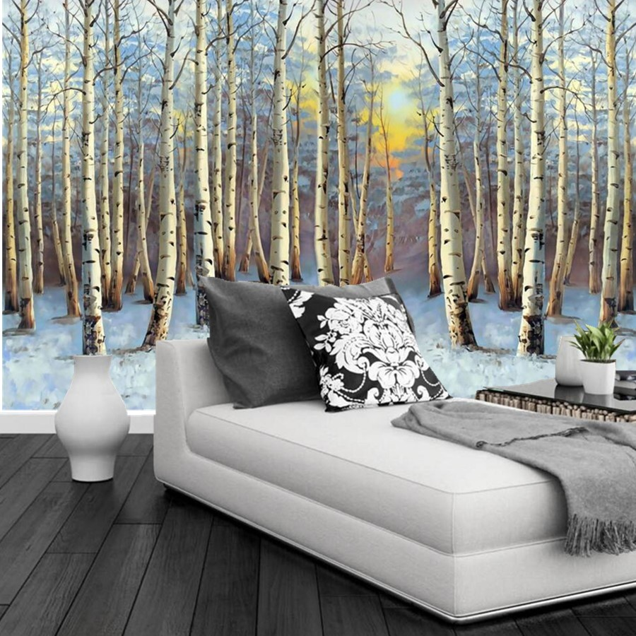 Custom 3d murals landscape painting poplar forest sunset for 3d mural wallpaper for bedroom