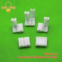10mm 2pin conector Para 5050 5630 5730 10mm placa PCB de un solo color LLEVÓ la tira, 5 unids/lote