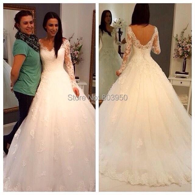 Vestido De Noiva Cheap Vestido De Festa Longo Sexy Sheer Full Sleeve Zipper Back Tulle Wedding Dress 2015 Bridal Gown Casamento(China (Mainland))