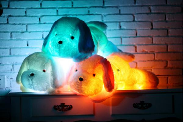 80CM Creative toy Cute Inductive dog nightlight plush toy LED glow pillow soft light up stuff toy dog pet quality(China (Mainland))