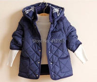 2015 new fashion  Hooded thick cotton-padded outwear Coats For  boys  Plaid  jacket clothes winter Children clothing