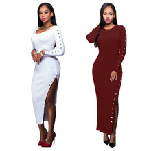 Buy Women Clothing 2017 Spring Fashion Buttons Split Women Dress Ladies Sexy Slim Long Sleeve Casual Autumn Maxi Dresses Vestidos for $16.65 in AliExpress store