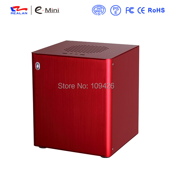 Realan D3 Red Aluminum Game Computer Case, Personal Server Case For Mini ITX Motherboard And ATX Power Supply(China (Mainland))