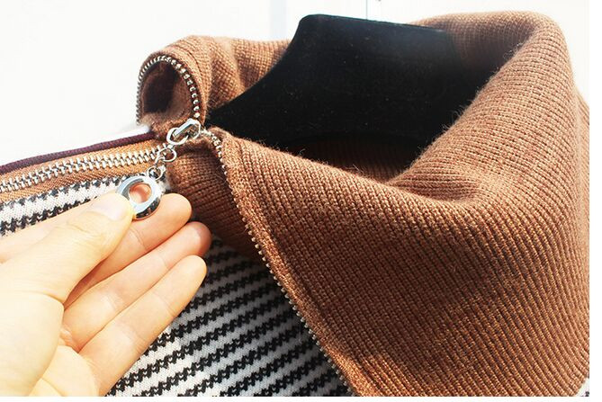 women's  winter asymmetric funnel collar Ribbed wool knit with variegated striped design Zip Neck Striped Knit Sweater jumper