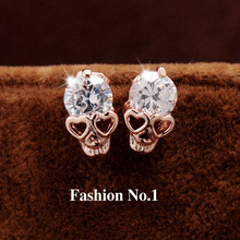 New Fashion Vintage Stud Earrings CZ Diamond 18K Gold Plated Skull Stud Earrings Free Shipping(China (Mainland))