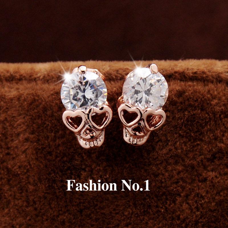 New Fashion Vintage Stud Earrings CZ Diamond 18K Gold Plated Skull Stud Earrings Free Shipping(China (Mainland))