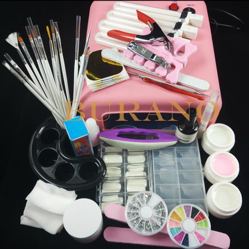 Burano Nail Art UV Gel tools UV lamp Brush Remover nail tips glue acrylic manicure set nail sets nail kits 36w pink lamp#002set(China (Mainland))