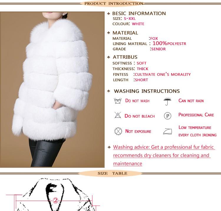 Real fur fox coat women's girl  white short  o-neck three quarter slim fashion full pelt super smart 2016 new winter