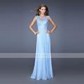 2016 New Design Elegant Chiffon Dress Sexy Lace Turic Sleeveless Deep O Neck Evening Wedding Floor