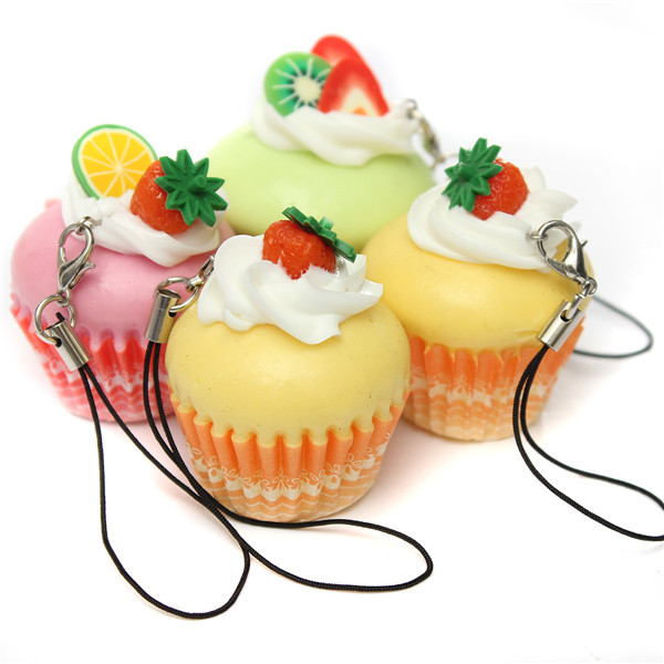 New Arrival Beautiful Design Cute Hard cream Fruit Cup Cake Cell phone Charms Key Chain Strap(China (Mainland))