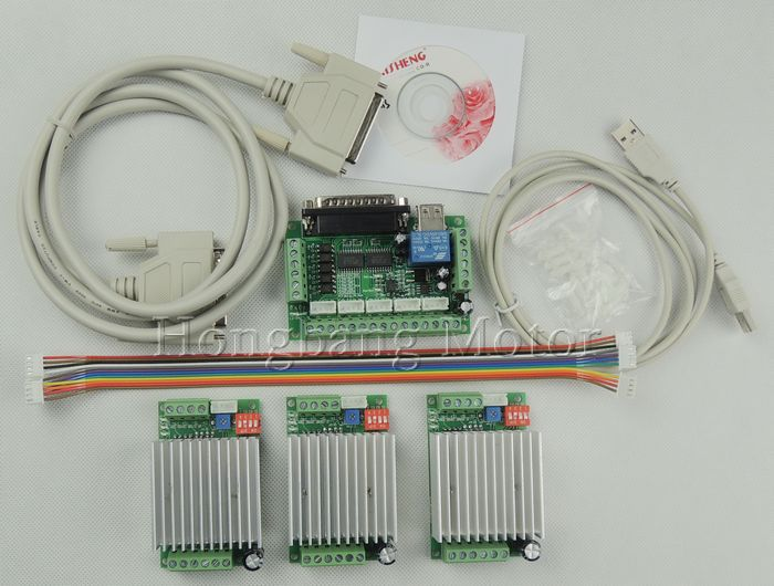 CNC mach3 Router 3 Axis Kit,TB6600 3 Axis Stepper Motor Driver Controller kit 4.5A + one 5 axis breakout board(China (Mainland))