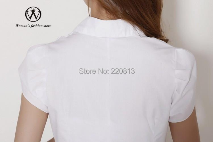 Продажа-оптовая горячие дамы 116 сплошной цвет пузырь с короткими рукавами нагрудные пр пригородных стройная женщина бизнес-рубашки