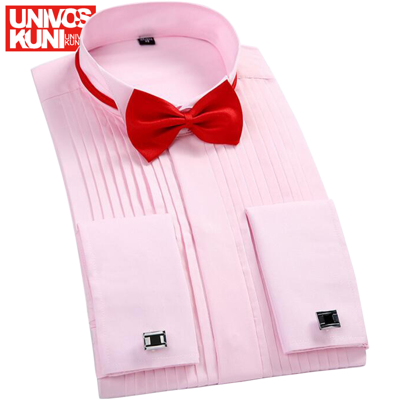 Tuxedo Shirts Brand Fashion Men's Long-sleeved Solid Wedding Shirts Fold French Cufflink Shirt Free Sending Tie Europe Size L686(China (Mainland))