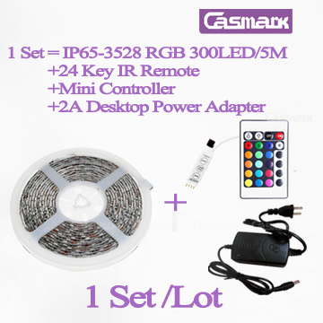 Free Shipping  (1Set/lot) 300LED remote control led light strips 5m smd 3528 with 2A Adapter + RGB Controller & 24 key IR Remote