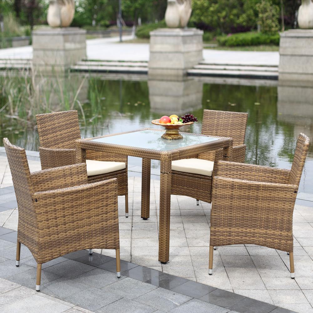 iKayaa 5PCS Wicker Rattan Outdoor Dinning Table Chair Set Cushioned Garden Patio Furniture Set tuinmeubelen salon de jardin(China (Mainland))