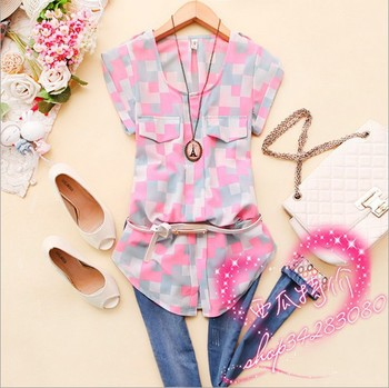 Free Shipping! 2013NEW HOT! Presented a Belt! Womans Korea Fashion 3 Colours Summer V-neck Checked  Short Sleeves Chiffon Shirts