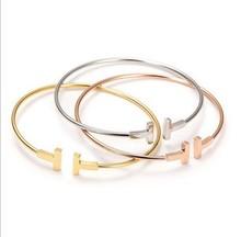 2016 Fashion 3 Color 18K Rose Gold Brand Letter Double T Bracelets bangles Pulseiras For Women fine Jewelry