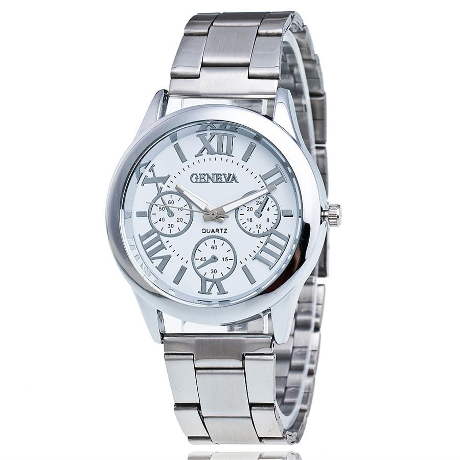 Fashion Women Silver Band Geneva Watch Luxury Stainless Steel Men Quartz Analog Wristwatches Relogios Femininos Gift Clock 1996(China (Mainland))