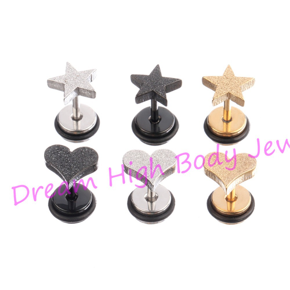 Five Star Ear bone Stud Nail Heart Fancy Frosted Screw Barbell Cartilage Tragus 316L Stainless Steel Punk - Dream High Body Jewelry store