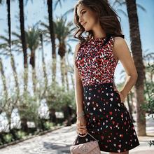 New Arrival Summer 2016 Fashion Casual Sleeveless Womens Dress Heart-shaped Printing O-neck Vintage Mini Party Dresses Vestidos