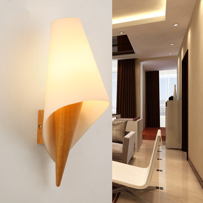 Creative Sweet Wall Light Chinese Style Bedroom Living Room , Modern Solid Wood +Glass Cover Wall Lamp , Japanese Porch Corridor(China (Mainland))