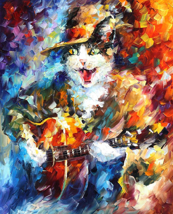 Top Skills Artist Hand-painted Impression Knife Painting Animal Oil Paints On Canvas Handmade Cat With Guitar Oil Painting(China (Mainland))