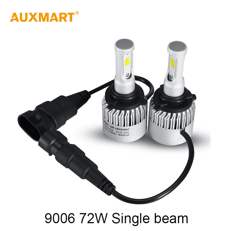 Auxmart 9006 72W LED Car Headlight Bulb Cool White 6500K 8000LM Single beam Driving Headlight CSP LED chips Fog lamps All In One(China (Mainland))