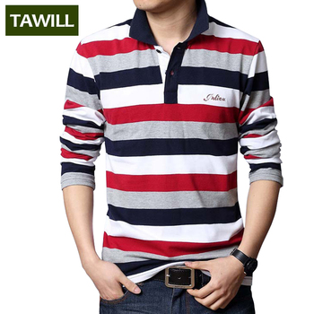 TAWILL 2017 Letters Embroidered Men Strip Polo Shirt Turn-down Collar Casual Cotton Polo Shirt Red Gray Green Asian Size M-5XL
