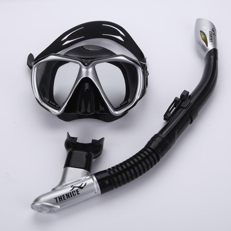 Thenice Professional Snorkeling diving set kit gear Equipment Myopia Silicone Fog proof Mask Full dry Breath tube Swim Spearfish(China (Mainland))