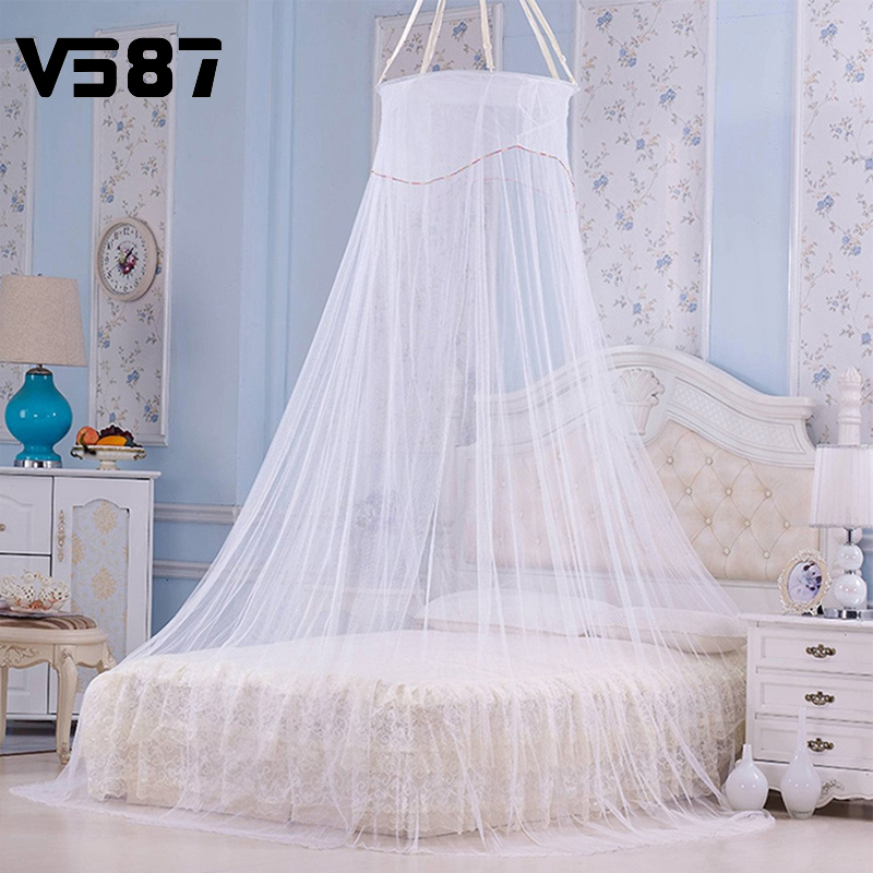Elegant Round Lace Palace Princess Mesh Mosquito Net Fabric Insect Bed Canopy Curtain Dome For Bedding Decor(China (Mainland))